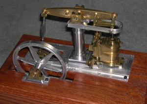 "Front view of Alan's ""Baby Beam"" steam engine."