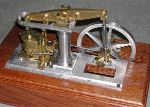 "Rear view of Alan's ""Baby Beam"" steam engine."