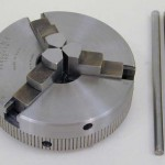 """Three-jaw chucks are convenient for holding round work quickly. Shown above is the 2.5"""" diameter chuck P/N 1041. The 3-jaw chuck is also available in 3.1"""" diameter."""