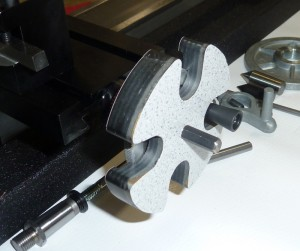 The adapter is shown pressed into position on a 4400 lathe crosslide handwheel. It really comes in handy on the longer axis but will work on any Sherline lathe or mill adjustable zero handwheel.