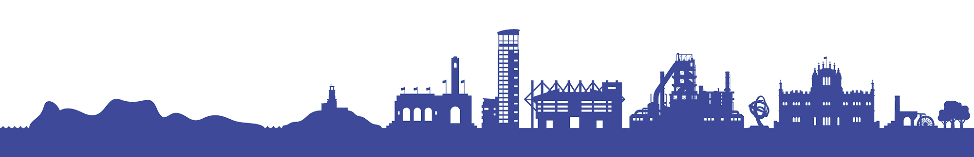 Graphic banner depicting West Glamorgan landmarks